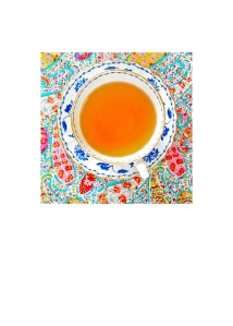 "Trixiepix tea card number EIGHT: Copeland Spode ""Blue Colonel"" tea set on Liberty of London bright paisley fabric {photo by Trixie}"